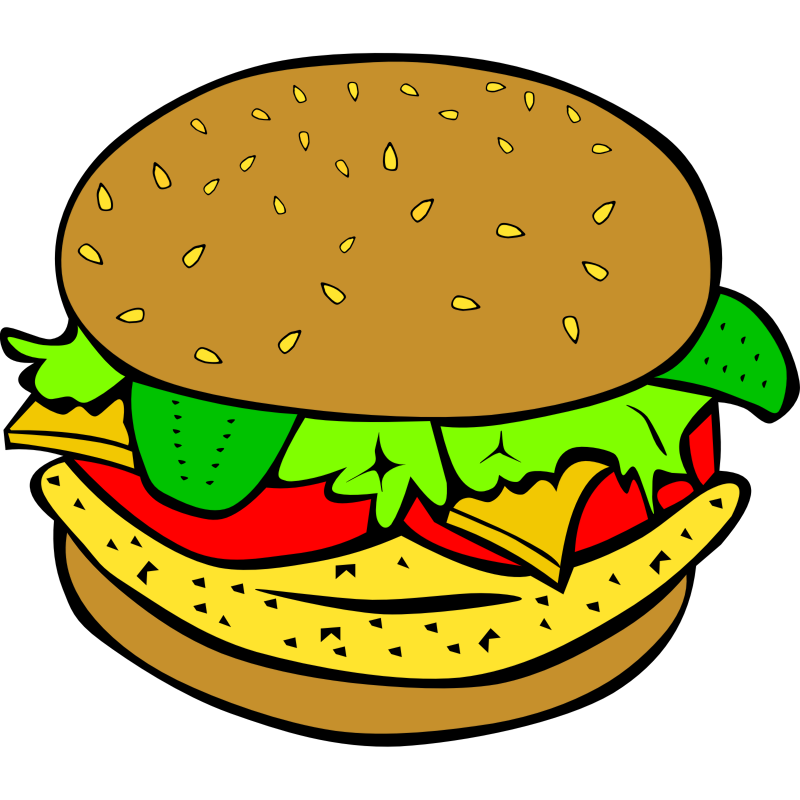 Hamburger svg comic. Free kitchen clipart download