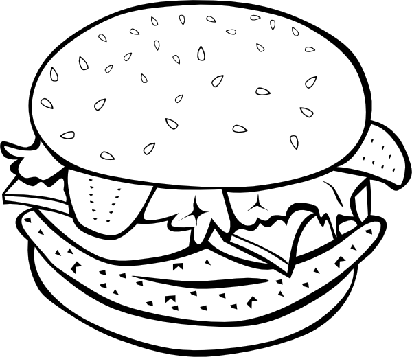 Burger clipart comic. Chicken b and w