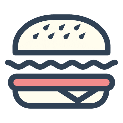 Burger icon png. Fast food stroke transparent