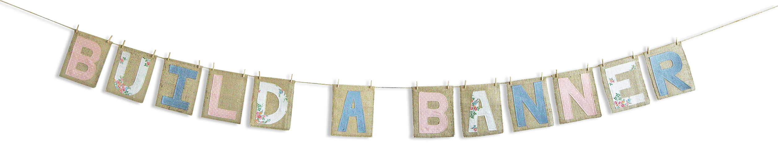 Burlap banner png. Build a boii home