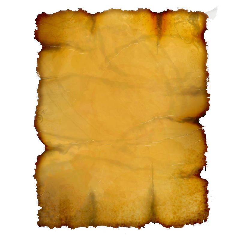 Burnt parchment paper png. Yellow scroll book burned