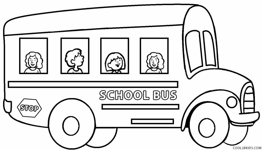 Bus clipart coloring page. Enjoyable pages of school
