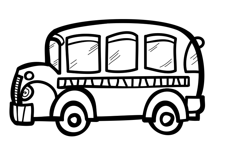 Drawing bus. School for kids at