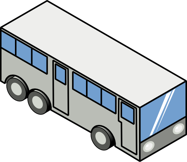 Drawing bus. Isometric icon clip art