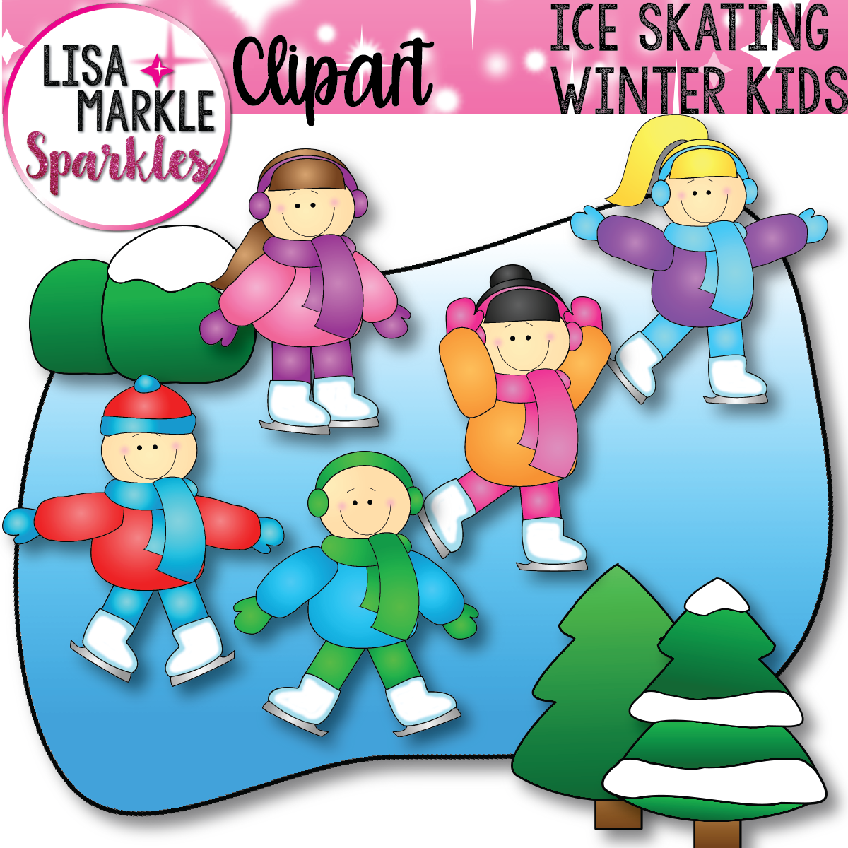 Bush clipart winter. Ice skating kids clip
