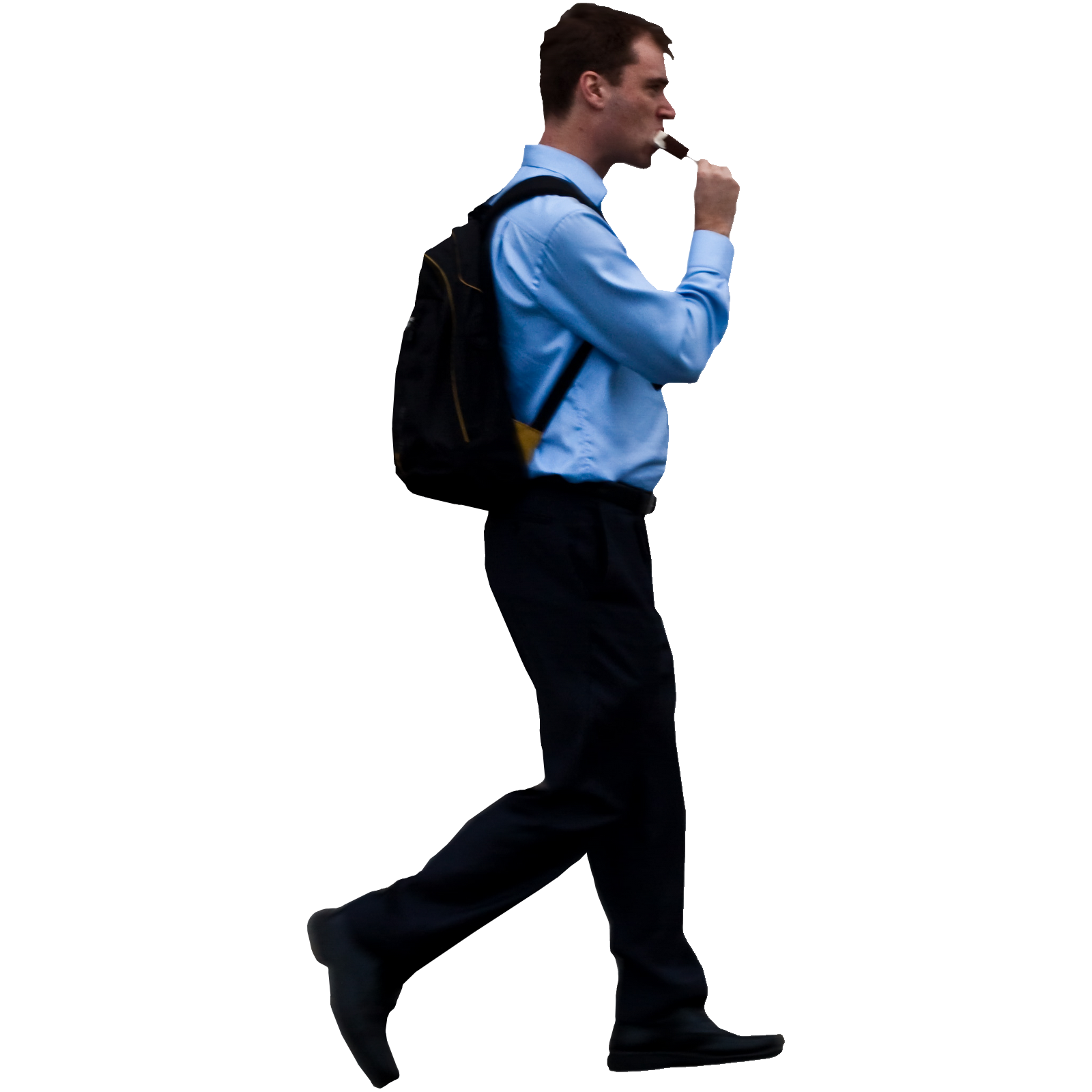 Person walking side view png. Guy with backpack and