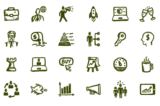 Business icons png. Busy hand drawn office