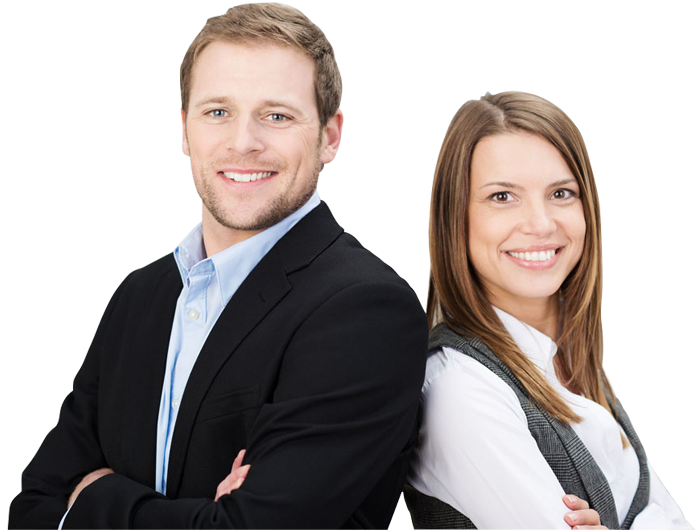 Business man and woman png. Young smiling designshop