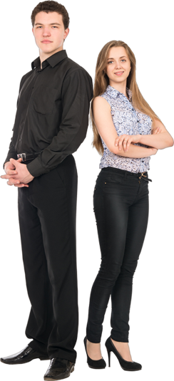 Business man and woman png. Businessman standing wesley manor