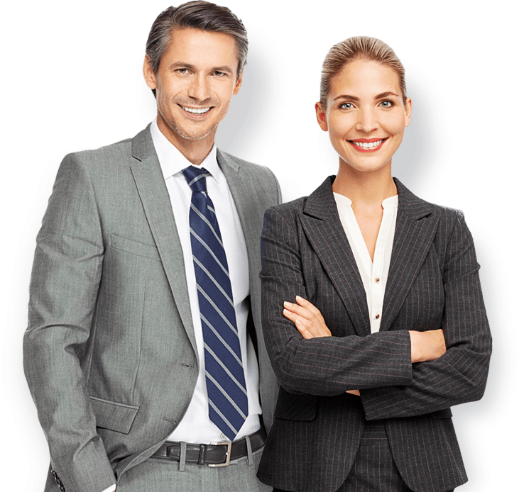 Business man and woman png. Company management corporation multi