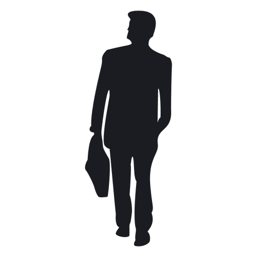 Tab vector man holding. Businessman carrying briefcase silhouette