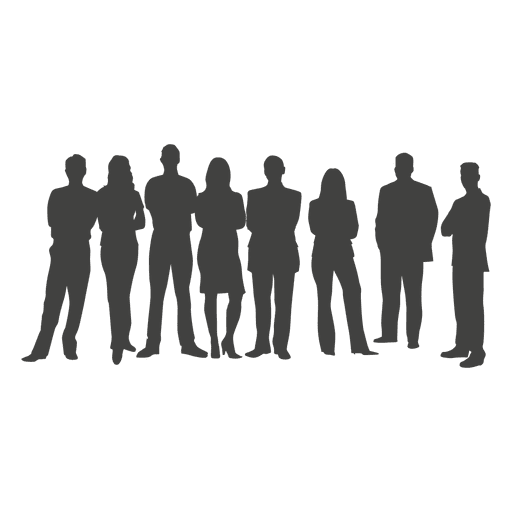 Crowd transparent silhouette. Business team png svg