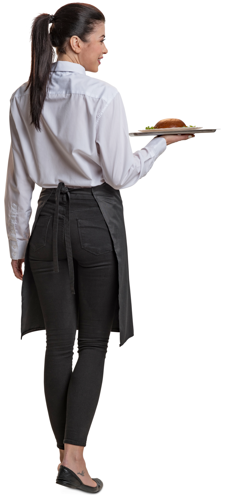 Business people walking away png. Cut out woman waitress