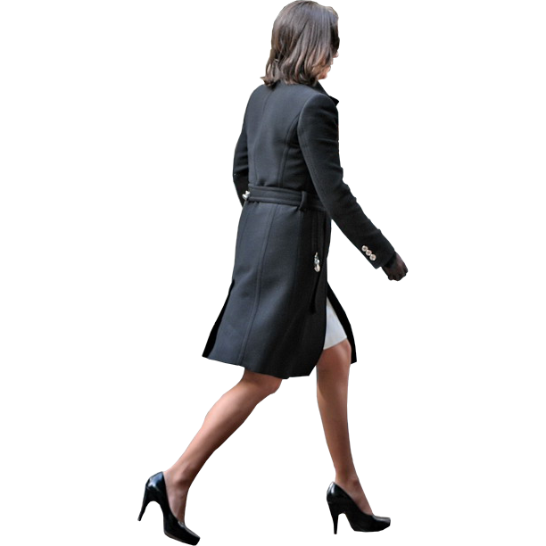 Person walking side view png. Business woman by facemepls