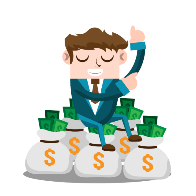 Business vector png. Man with money people