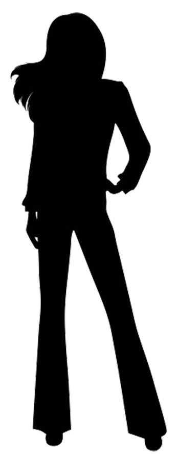 Business woman silhouette png. Female casually standing of
