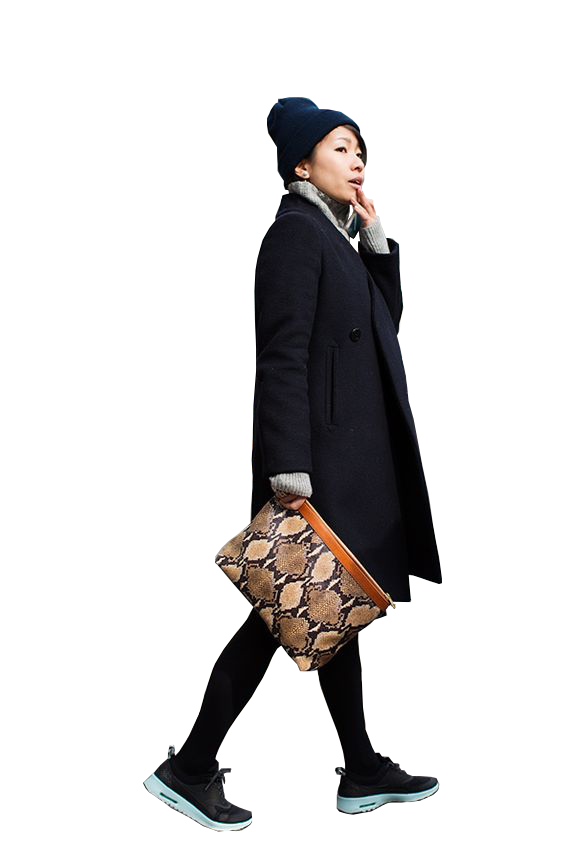Business woman walking png. Asian bag lady ps