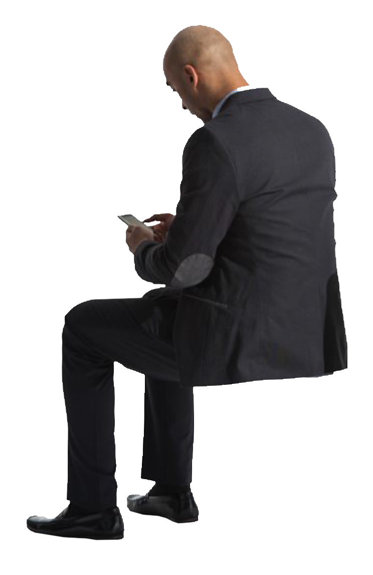 Person sitting in chair back view png. Cutout man phone pinterest