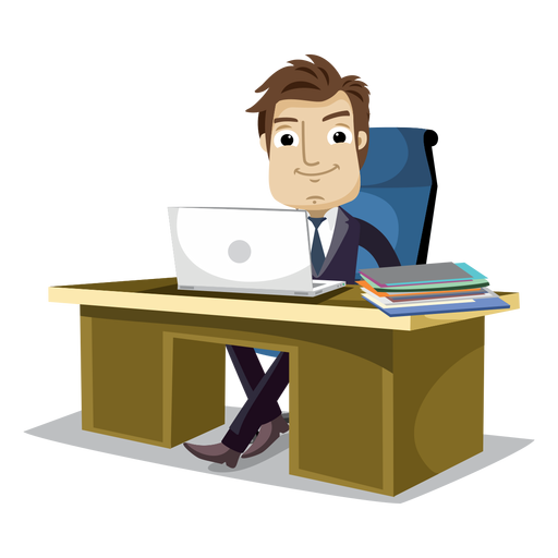 Working at office free. Businessman cartoon png clipart royalty free library