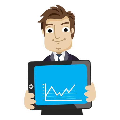 Businessman cartoon png. Showing graph tab transparent