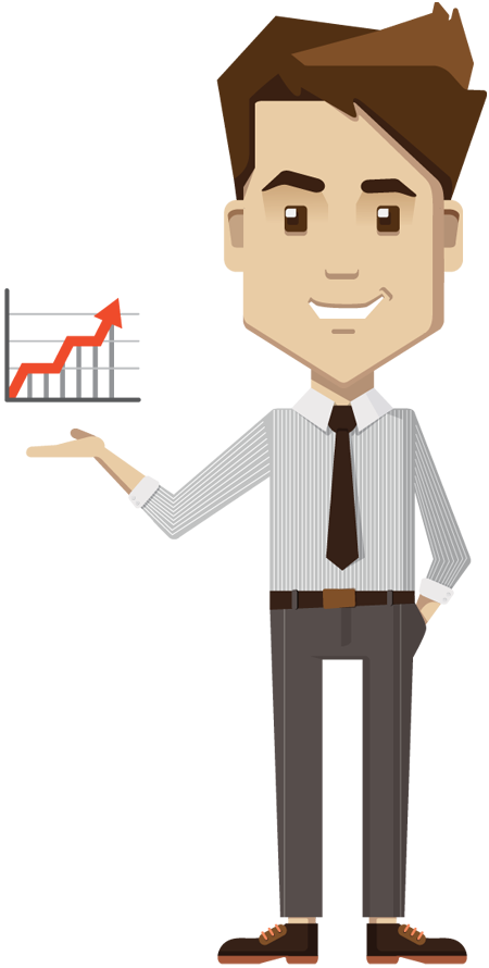 Holding growth chart board. Businessman cartoon png free stock