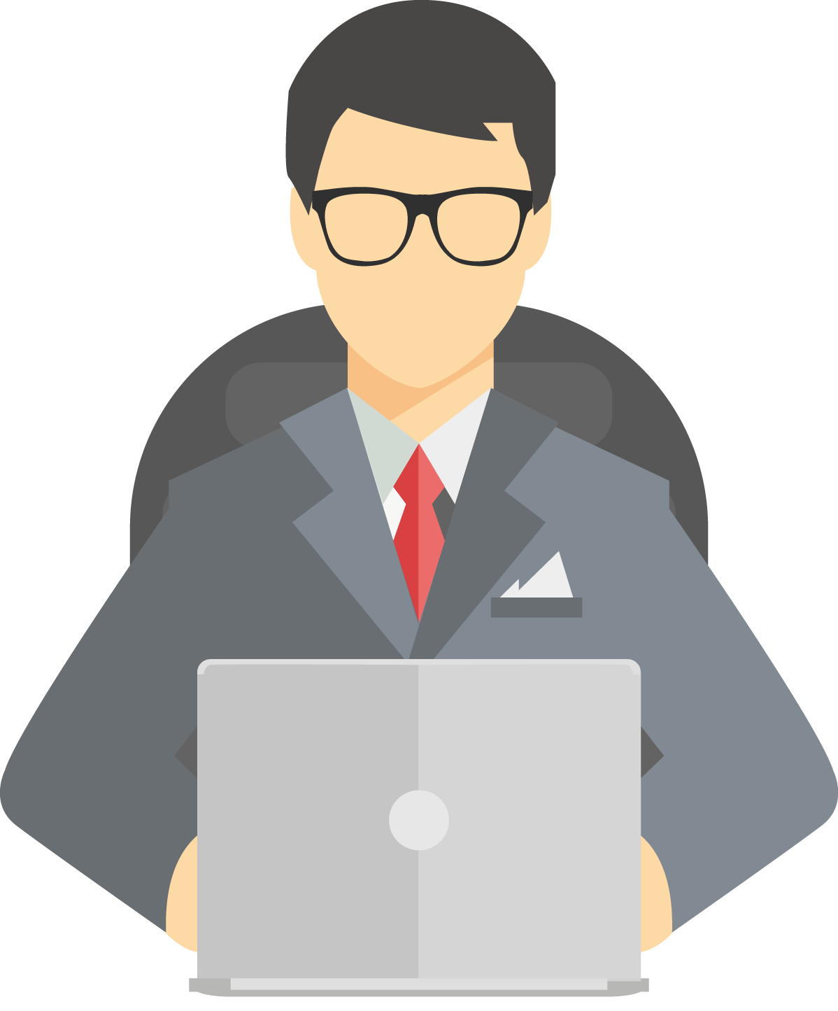 Businessman clipart png. At desk transparent images
