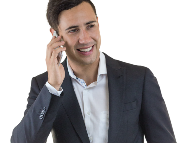 Businessman on the phone png. Man calling transparent images