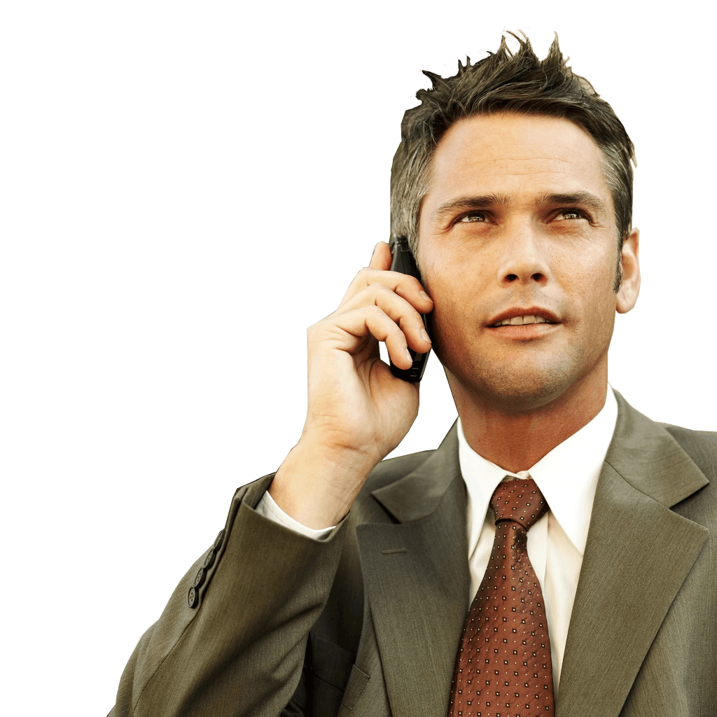 Businessman on the phone png. Transparent stickpng download