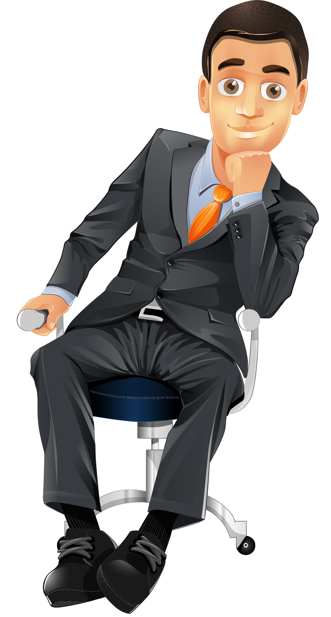 Businessman vector png. Character sitting on a