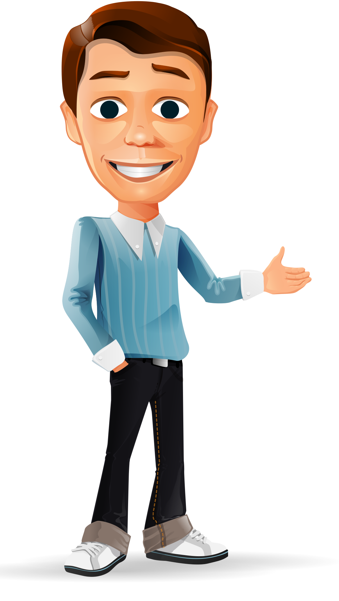 Trolley vector cartoon. Welcome businessman character http