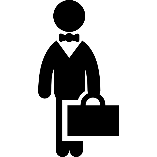 Businessman with a suitcase smiling png. Icon page svg  clip black and white download