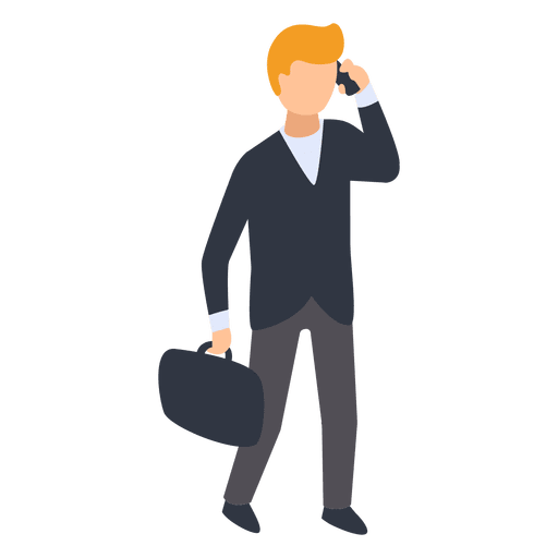 Businessman with a suitcase smiling png. Working at office cartoon