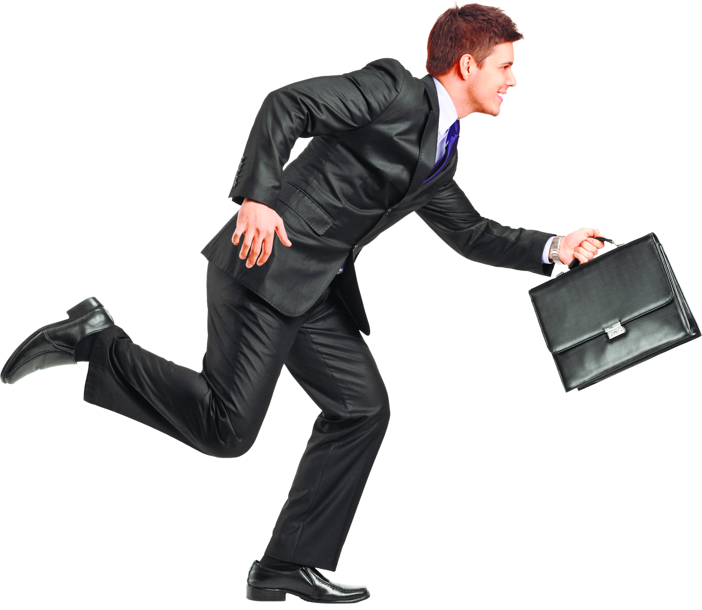 Businessman with a suitcase smiling png. Running transparent stickpng download
