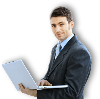 Businessman with laptop png. Corporate image