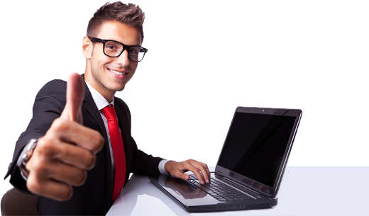 Businessman with laptop png. English tutor online services