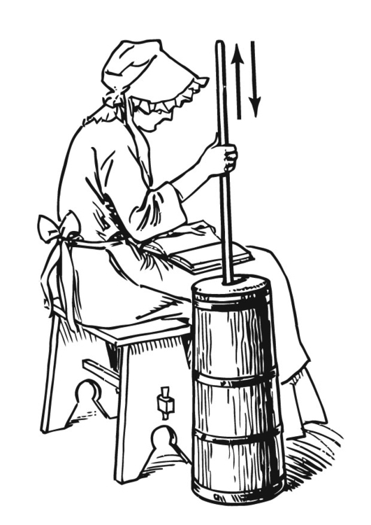 Butter clipart butter churn. Coloring page making with