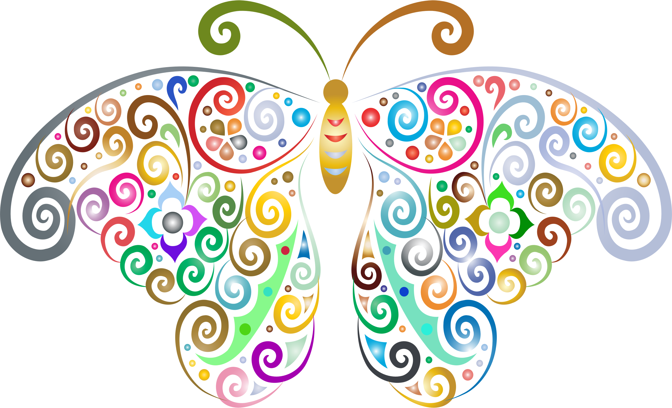 Butterflies clipart clear background. Prismatic floral flourish butterfly