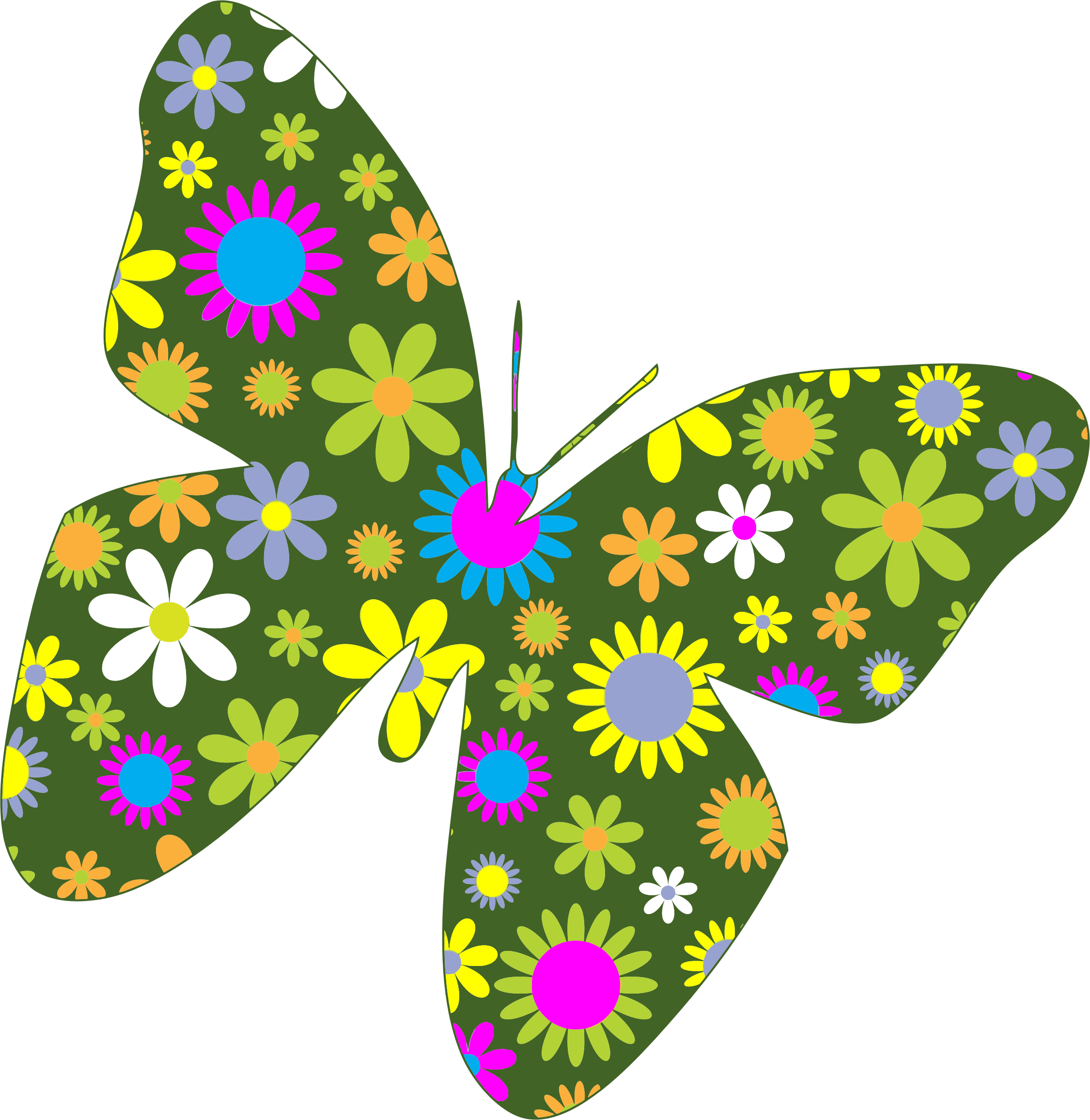 Clipart flowers and butterflies png. Free butterfly flower clip