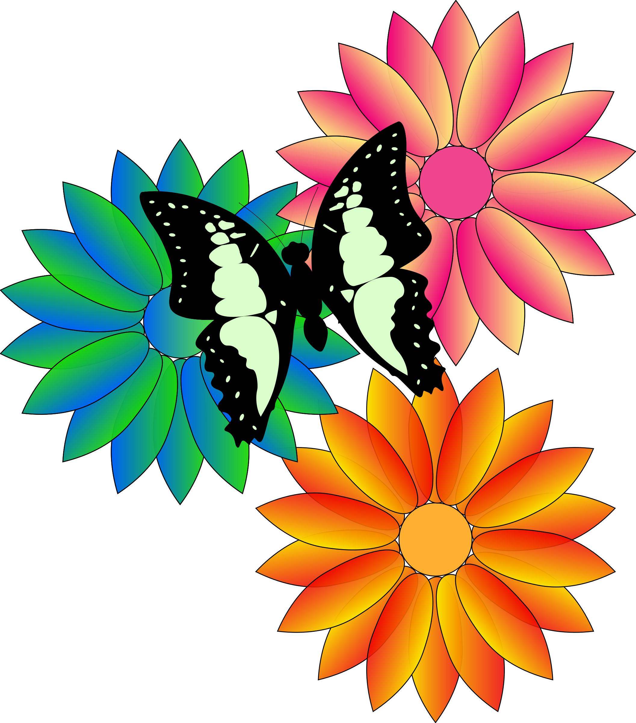 Spring flowers border png. Clipart butterfly and big