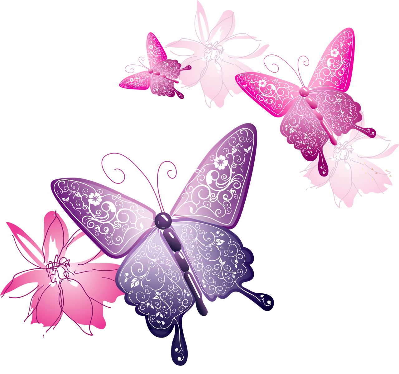 Transparent spring butterfly. Decorative clipart gallery yopriceville