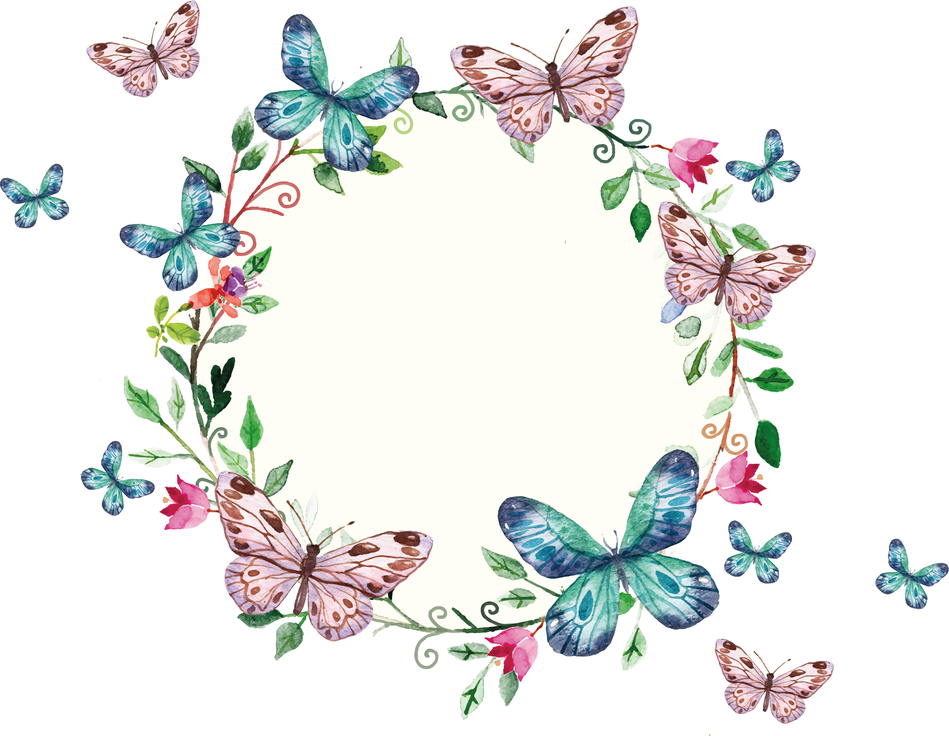 Butterfly border png. Freepi com floral wreath