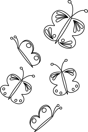 Butterfly clip art black and white. Flying butterflies