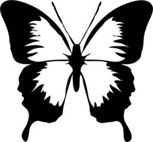 Butterfly clip art black and white. At clker com vector