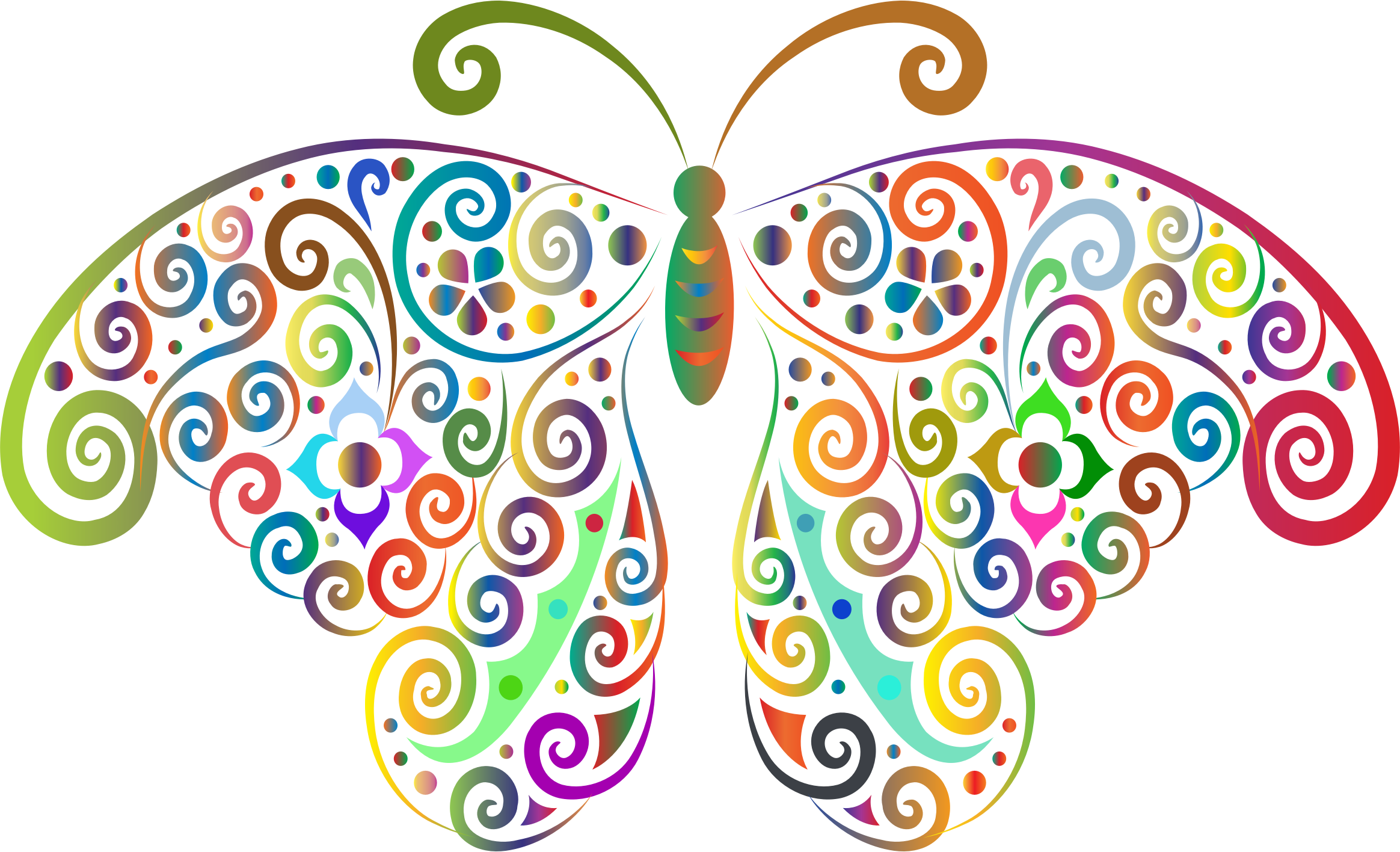 Butterfly clip art clear background. Prismatic floral flourish silhouette
