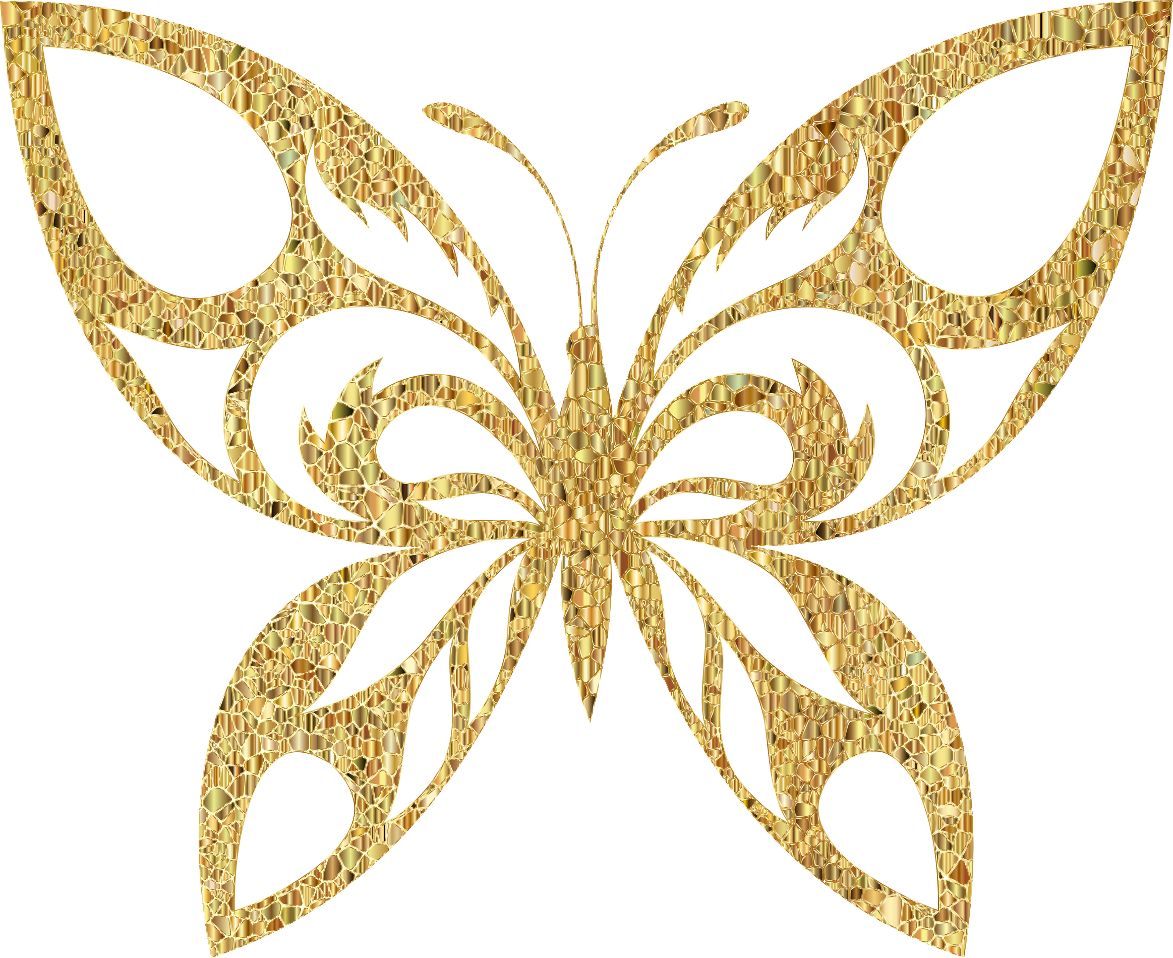 Butterfly clip art clear background. Gold tiled tribal silhouette