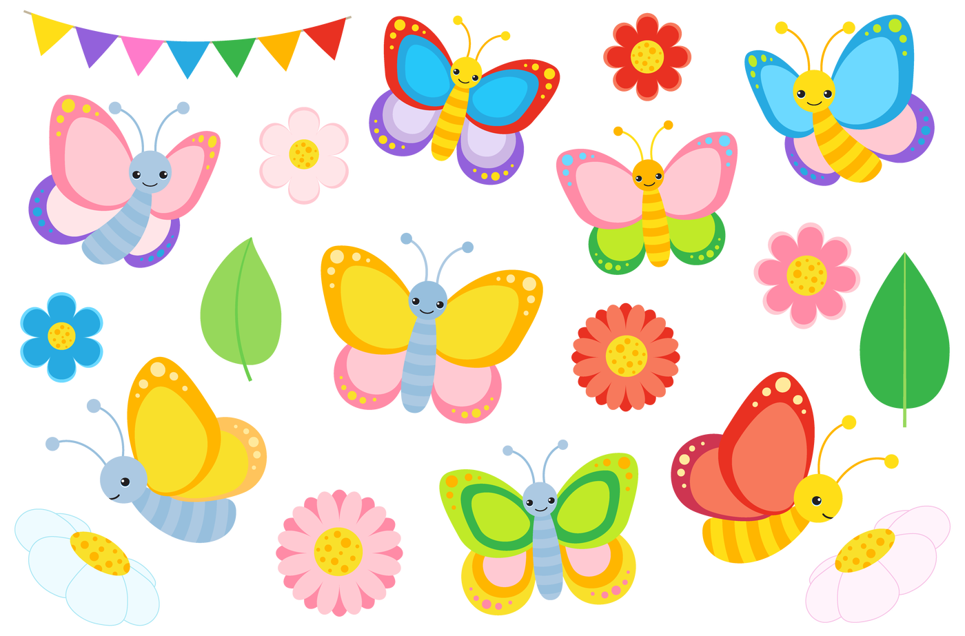 Butterfly clip art colourful. Clipart and vectors by