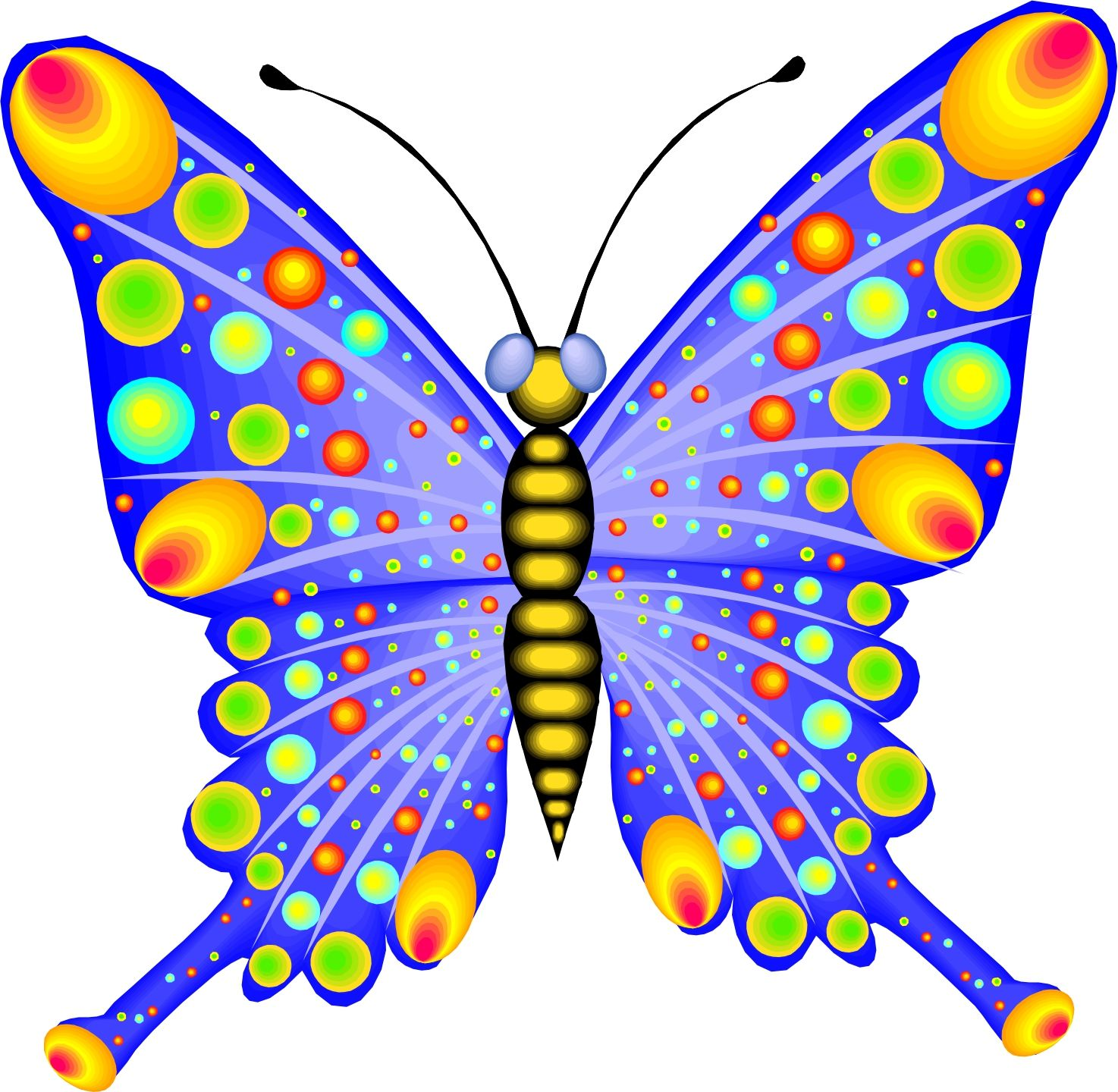 Butterfly clip art colourful. Cartoon pictures of butterflies