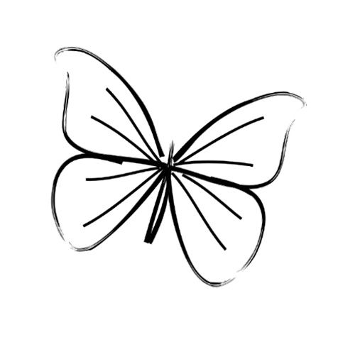 Butterfly clip art easy. Simple line drawing possible