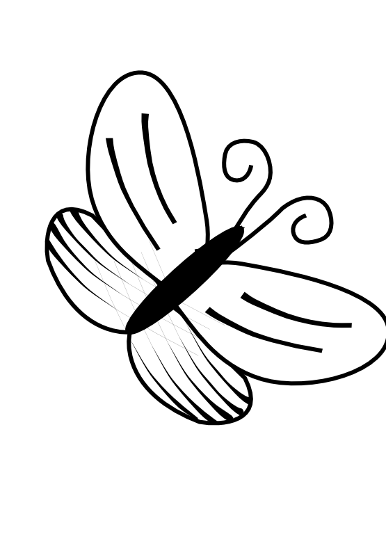 Butterfly clip art line drawing. Black and white