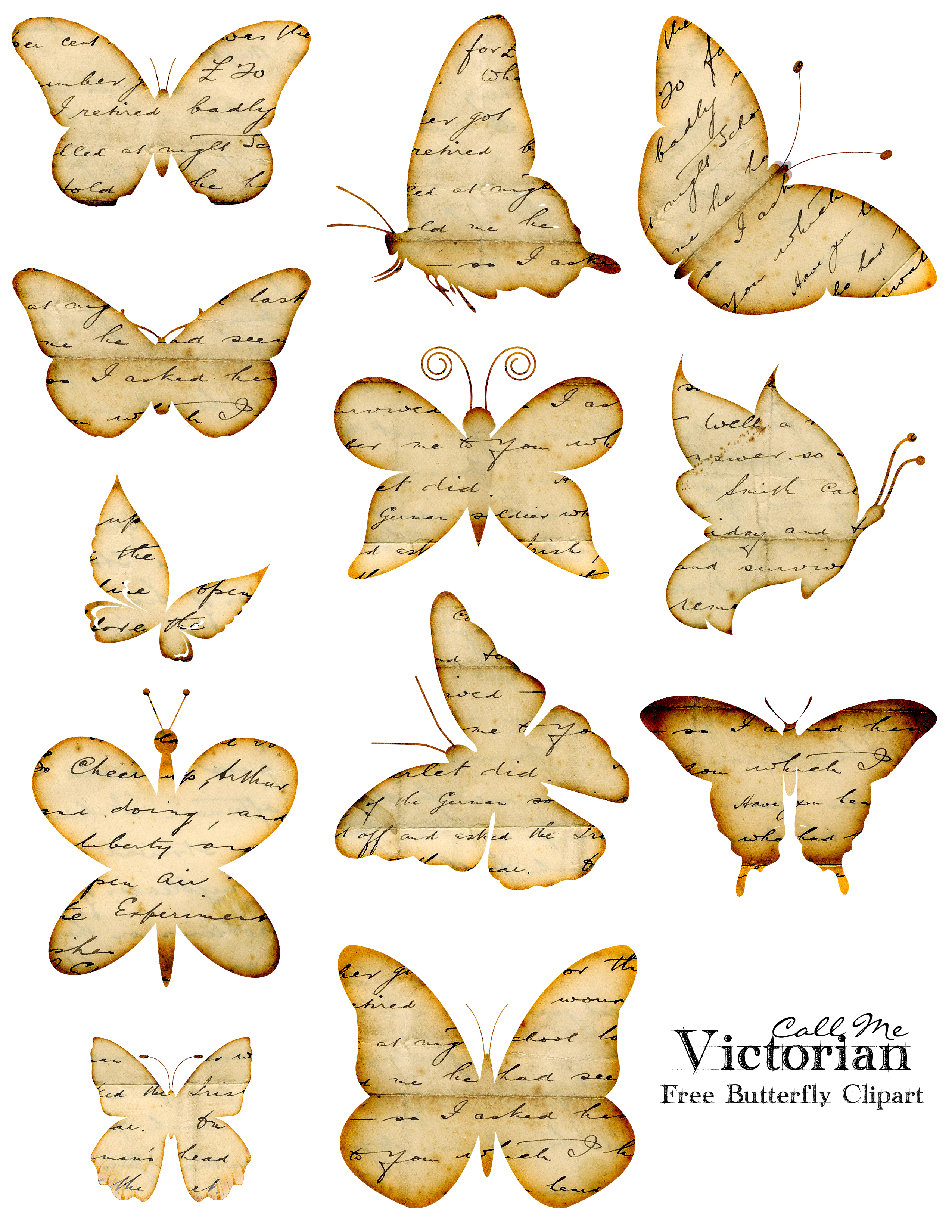 Butterfly clip art printable. Free clipart images distressed